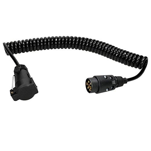 ECD Germany Anhänger Verlängerungskabel - 7 polig - 3m mit 2 Steckern - 12 V - Spiralkabel Trailer Kabel Anhängersteckdose Kupplung -