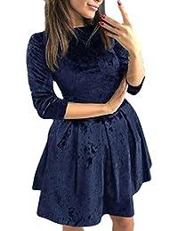 Kleid Damen Kolylong® Frauen Elegant Samt Langarm Kleid Vintage Skaterkleid  Knielang Festlich Kleider Minikleid… 201260ee06