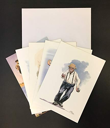 Provenzalische Kunstkarten, Format 12 x 17 cm, mit Umschlägen: La Pétanque de Gil Pirès