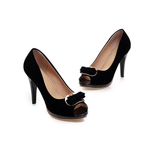 AllhqFashion Femme Couleur Unie Dépolissement Stylet Tire Ouverture Petite Chaussures Légeres Noir