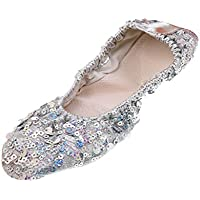 MagiDeal 1 Par Zapatos de Danza de Vientre Entrenamiento Suaves con Lentejuelas Brillantes Cómodos Bien Protegido - Plata, L