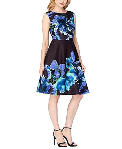 Tahari ASL Floral-Jacquard Fit & Flare Dress