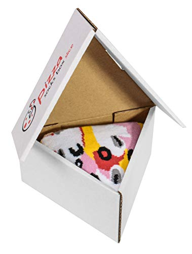 PIZZA SOCKS BOX SLICE - 1 paar Capricciosa Pizza LUSTIGE Socken - Ideal als Originelle GESCHENK - Bunt Socken - BAUMWOLLE Reich - Fun Gadget| Größen EU 41-46, Made in EUROPE Pizza Slice Boxen