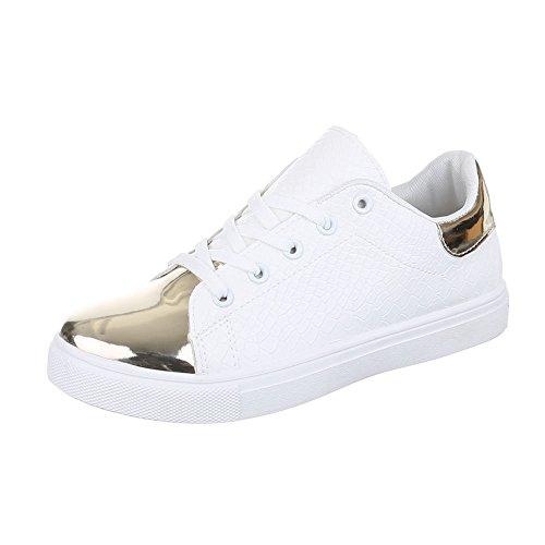 Low-Top Sneaker Damen Schuhe Low-Top Sneaker Schnürsenkel Ital-Design Freizeitschuhe Weiß Gold