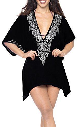 LA LEELA Strand liebende Abdeckung nach Oben Boho Kaftan Tunika Damen Poncho Kimono lässig Abend Bademode Sundress Bestickt und Badebekleidung Frauen weicher Viskose schwarz -