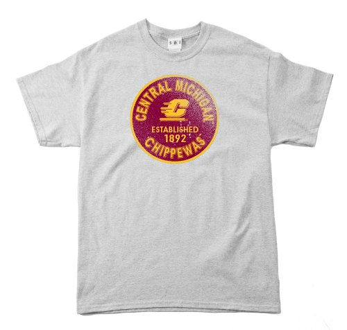 NCAA Central Michigan Chippewas Kurzarm-T-Shirt, vorgeschrumpft, Vintage-Design, Herren, Grau - Sport Grey, X-Large -