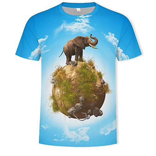 Camiseta Hombres Elefante De Tierra 3D Digital Imprimen Camisetas Unisex Camisetas De Manga Corta Casual Hipster Camisas De Cuello Redondo Deportivas Sport tee para Hombres,2XL