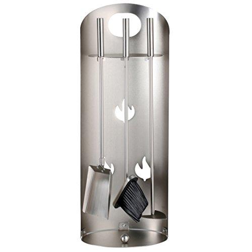 Kaminbesteck 3-teilig silber mit Edelstahlgriffen ca.69 cm hoch - Kamingarnitur mit Ständer bestehend aus Kehrschaufel, Aschekratzer + Kamin-Besen Indoor Outdoor Besen Set