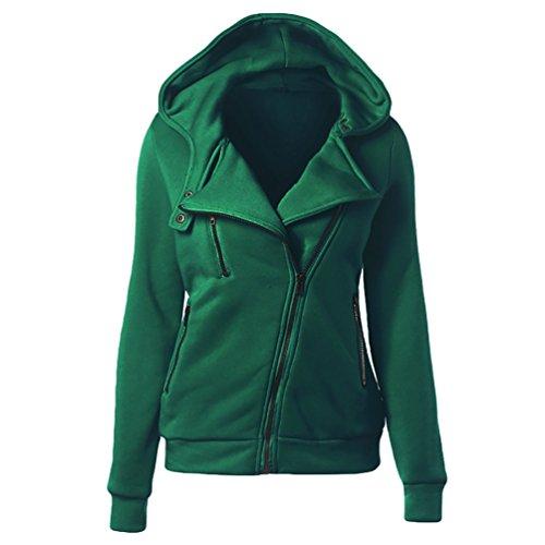 NiSeng Femme Sweat Encapuchonné Fermeture à Glissière Extensible Poche Hoodie Top Vert