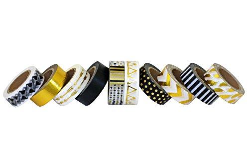 scraft-artise-10-rolls-of-foil-washi-masking-tape-japanese-decorative-set-15mm-x-10m-approx-5-8x-33-