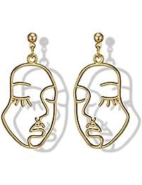 fea55881b40a Aleación clásica Pendientes de las mujeres ahueca hacia fuera la cara en  forma de oreja colgantes