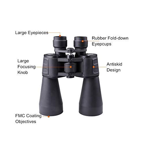 VisvimQ 20X50 High Power B Teleskop Doppelzylinder Low Light Level Nachtsicht High Power Schwarz Schwarz Teleskop (Farbe : Schwarz) -