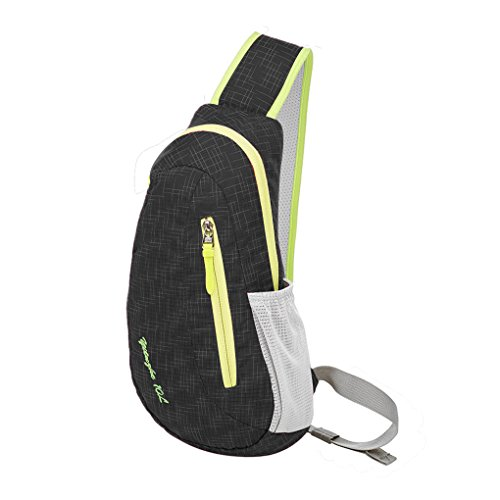 FakeFace Unisex Wasserdicht Nylon Brusttasche Cross-Body Tasche Bag Schultertasche Umhängetasche für Reise Freizeit Sports Wandern Outdoor (Schwarz)