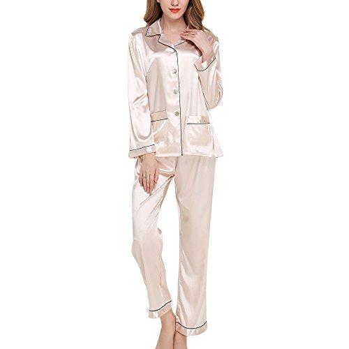 Dihope 2 Pièces Ensemble de Pyjama en Satin Femme Manches Longues Vêtement de Nuit Top Bouton et Pantalon Printemps Automne