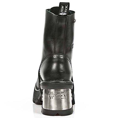 Bottes New Rock Metallic En Cuir Noir M.8355-s1 Noir