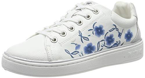 Mustang Mädchen 5053-307-18 Sneaker, Weiß (Weiß/Blau 18), 35 EU