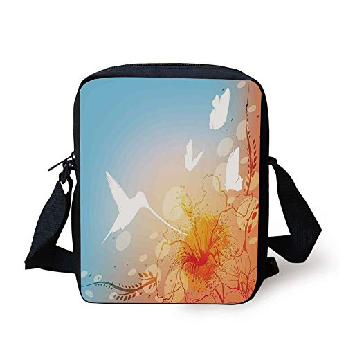 Hummingbirds Decorations,Hummingbird and Butterflies Silhouettes Flowers Fun Summertime Garden, Print Kids Crossbody Messenger Bag Purse -