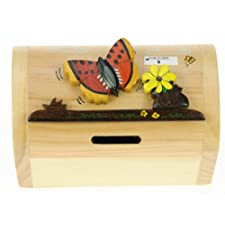 Butterfly Money Box with Secret Lock : Handcrafted Wooden Treasure Chest : Top Christmas Gift Idea : High Quality Traditional Xmas Present For Boys, For Girls, For Him, For Her, For Children & For Fun Loving Adults! 30+ Designs (Size 12x9x7cm). From The Exclusive British Wildlife Range