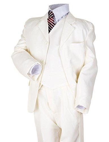 Festlicher 5 teiliger Jungen Anzug mit Jacke, Weste, Hemd, Hose und Krawatte (2 / 98 / 104, #133be Beige)
