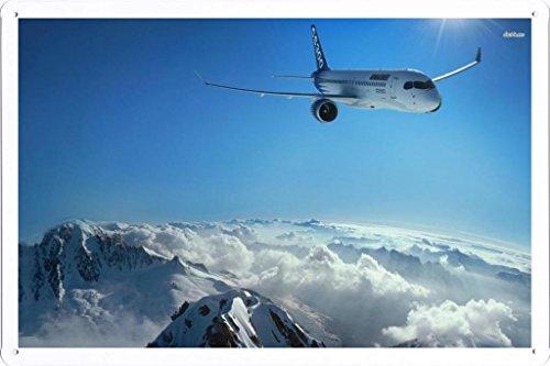 metallo-poster-targa-in-metallo-piastra-aircraft-tin-sign-10512-bombardier-cs300-retro-vintage-paret