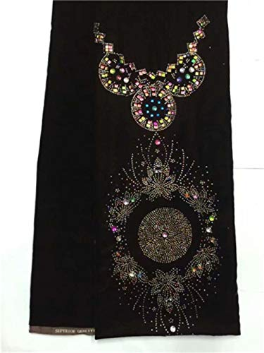 PENVEAT Luxuxentwurf Samtspitze Stoff mit bunten Steinen afrikanischen Gewebe hohe Qualität Samtstoff für Frauen kleiden 5yards pro Stück, LX200117V3