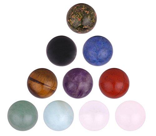 Morella Kugel Set 10 Edelsteine 16 mm Chakren Kugeln für Halsketten-Anhänger in Schmuckbeutel