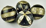 Kunert-Keramik Holzkugeln,Metallbeschlag,Deko,Weihnachten,4er Set,13cm