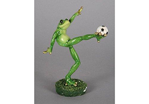 Statue Belle Frosch Fußball in Harz, Größe 30 x 17 cm