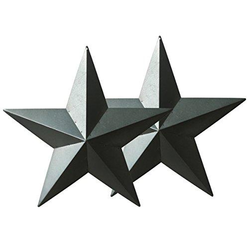 CVHOMEDECO. Land Rustikal Antiquität Jahrgang Geschenke Grungy Wüstensalbei Metall Scheune Star Wand- / Türdekor, 61 cm, 2er Set.