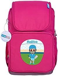 UniQBees Personalised School Bag With Name (Active Kids Medium School Backpack-Pink-Goalkeeper)