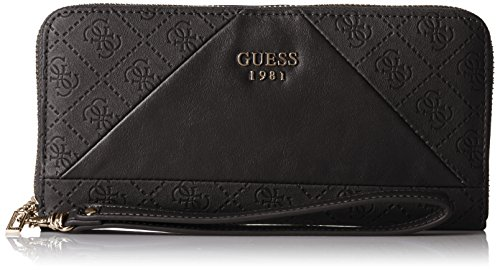 Guess Cammie Slg Large Zip Around Portamonete, Donna, Nero