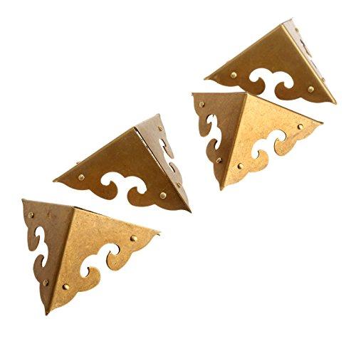 4Pcs Dekorative Ecke Schutz für Möbel Schrank Schmuck Box 4,5*4,5*4,5cm Retro Messing, Antique Brass -