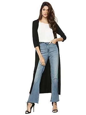 Raabta Fashion Women's Viscose Long Shrug (Black, Medium)