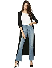 Raabta Fashion Women's Black Long Shrug (X-Large)