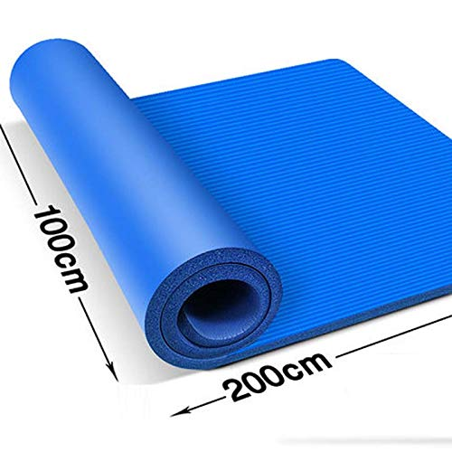 QI-shanping Ancho de la Estera de Yoga 1 Metro de Largo 2 Metros Colchoneta de Ejercicios Estera de Ejercicio Doble Estera de Alta Densidad NBR para Pilates, Ejercicio (Color : Blue, Size : 20mm)