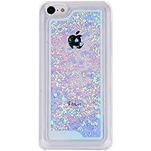 Carcasa para iPhone 5C, diseño de la capa de plástico Nsstar AquaTrio transparente Cystal con carcasa de brillo de haces de doble carcasa rígida con diseño del delfín atractivo de líquidos de agua de plástico Funda para iPhone 5C, little hearts,blau, iPhone 5c