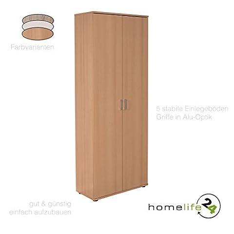 Aktenschrank Schrank Büroschrank Mehrzweckschrank mit Doppeltür mit 5 Böden in Buche