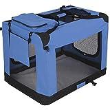 Leopet Faltbare Hundetransportbox (91,5/64,5/63,5cm) in Farb-und Größenwahl für Hunde, Katzen und Kleintiere | abwaschbar | Hundebox, Autobox, Transportbox, Kleintiertasche – Blau