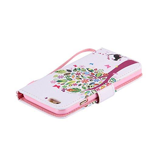 Schutzhülle für iPhone 6S 6 4.7 case Wallet Leder Schale Tasche Magnet PU Hülle Handy Silikon Back Cover Etui Skin Shell Purse Portemonnaie Geldbörse(Standfunktion,Kreditkartenfach,Stylus,folie,Reinig leibe baum
