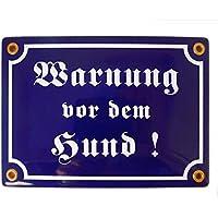 Emailschild WARNUNG VOR DEM HUND 12x17 cm Warnschild wetterfest   Schild Emaille