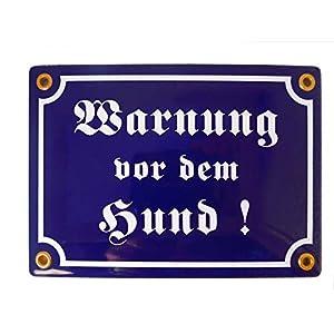 Emailschild WARNUNG VOR DEM HUND 12×17 cm Warnschild wetterfest | Schild Emaille