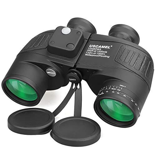 USCAMEL Binocolo 10x50 Professionale HD Militare Con Bussola Multifunzione Oscillante, Adatto Al Bird Watching, Caccia(Nero)