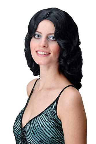 WIG ME UP - GFW1860-1 Damenperücke Perücke Classic Hollywood Chic Wasserwelle gewellt schwarz Diva lang Volumen