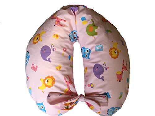 merrymama- cojín lactancia + Funda con cordones/cm 130(relleno de Microgranuli de poliestireno), Zoo fondo rosa