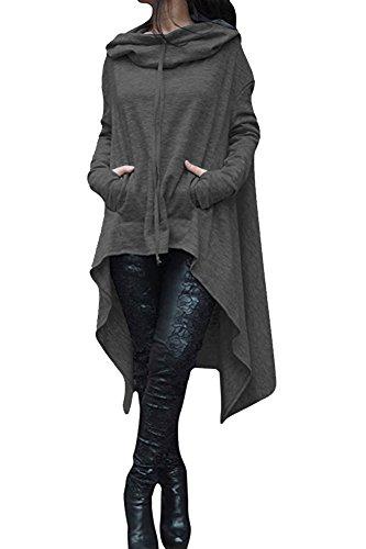 FANTIGO Felpa con cappuccio con tasche a canguro da donna Pullover Lungo asimmetrico Abito a tunica Grigio intenso