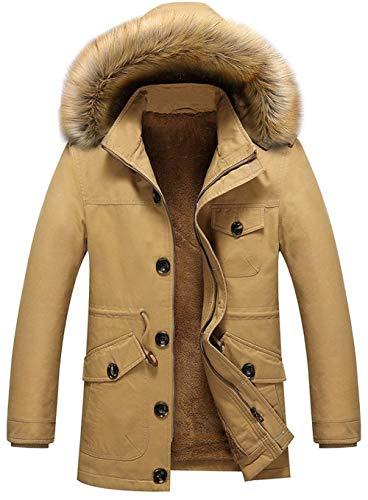Cappotto di pelliccia imbottito cappuccio invernale coat con caldo da uomo giacca di cotone imbottito con collo staccabile softshell cappotto imbottito di antivento parka (color : khaki, size : m)