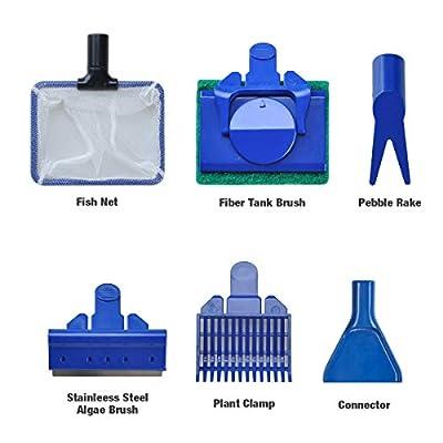 Songway Aquarium Reinigung Kit, 5 in 1 Aquarium Reinigung Werkzeug Set Fischnetz + Kiesrechen + Algenschaber + Float Gabel + Schwamm für Fisch Reef Plant Glas