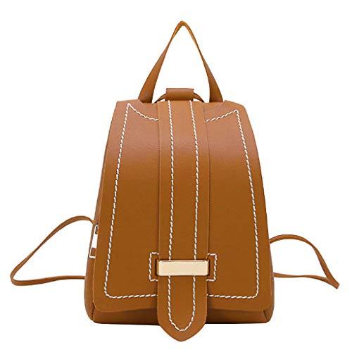 DOFENG Damen Volltonfarbe PU Leder Schultaschen Daypack Handtaschen Rucksack Tagesrucksack Backpack Umhängetasche Reiserucksack für Schule Reise Arbeit (Braun, Eine Größe) -