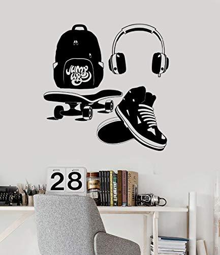 yaoxingfu Neue Aufkleber Street Style Teen Kinderzimmer Kopfhörer Skate Vinyl Kunst Wandaufkleber Für Wohnzimmer Schlafzimmer Y Karte Farbe 84x84 cm