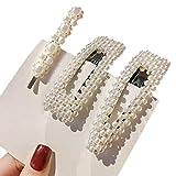 Brucelin - Set di 3 spille per capelli irregolari, decorazione di perle finte, pinze per capelli a forma geometrica in lega di metallo, accessori per capelli di lusso I